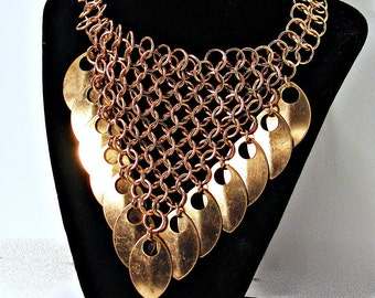 ScaleMail Necklace Choker Pure Bronze Dragonscale chainmail