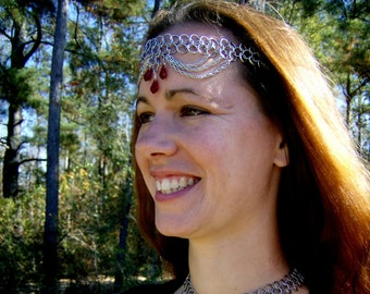 Ruby Red Chainmail Headband/Choker necklace stainless steel
