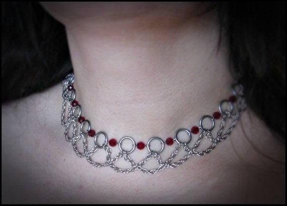 Morghanna le Fae Ruby Red Stainless Steel crystal necklace fantasy