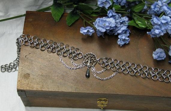 Tree of life chain mail headband/choker Pagan Nature Hematite