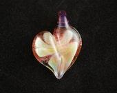 Hand blown glass necklace pendant / Heart
