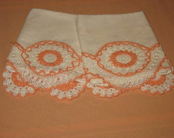 Beautiful Vintage Hand Crocheted Pillow Cases, Set of Two