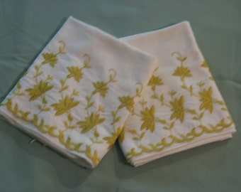 Vintage Pillow Cases (1) Pair, Gold Embriodered