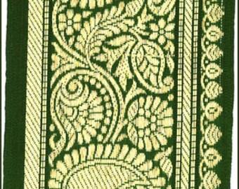 "Extra Wide Sari Boder Paisley Metallic Gold Green Jacquard Ribbon Trim 3.5"" Wide Bollywood Boho Jacquard Trim 3 Yards"