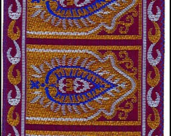 "Purple Arabesque Woven Ribbon Jacquard Trim 1.75"" Wide x 3 Yards Wide Sari Style Trim"