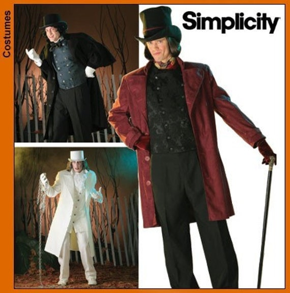 Mens Steampunk Tophat Top Hat Coat Pattern Sz M-XL