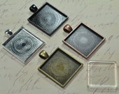 200 pcs 25mm Square Pendant Trays with Flat Glass Tiles 1 inch Antique Bronze, Antique Copper, Black and Silver Plated