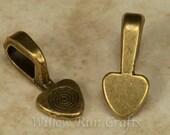 25 Medium Antique Bronze Heart Bails  (07-06-304)