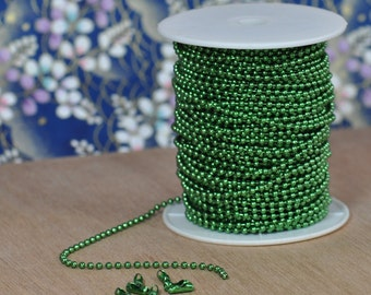 1 Spool 2.4 mm Spring Green Ball Chain Spool, 100 Feet of Colored Ball Chain with 100 connectors, Green Ball Chain (15-44-330)