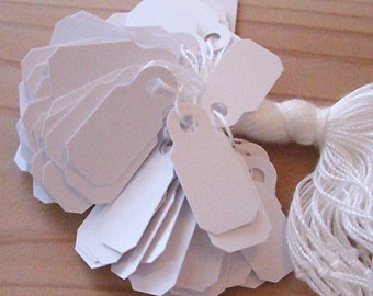 "100 Jewelry Price Tags  White 3/4"" x 1 3/32"""