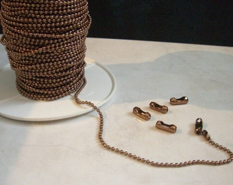 1 Spool 1.5 mm Antique Copper Plated Ball Chain Spool 100 Feet with 100 connectors. (15-44-336)