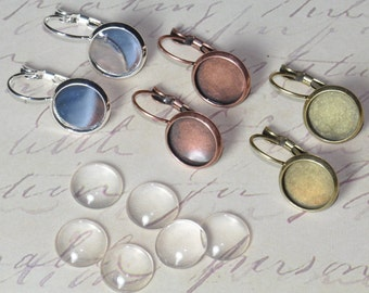 10 pcs 12mm Earring Pendant Trays (5 Pairs) with 10 Glass Cabochons Silver, Antique Bronze or Antique Copper