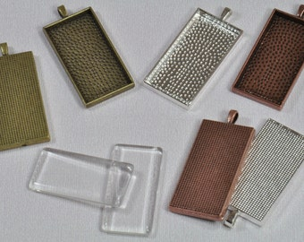 "50 pcs 24mm x 48mm Rectangle Pendant Trays with 50 Glass Rectangles, in Antique Bronze, Antique Copper and Silver Plated 7/8"""" x 1 7/8"""