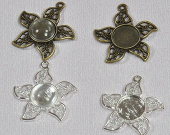 10 pcs 12mm Flower Pendant Trays with 10 Glass Cabochons in Silver and Antique Bronze, Blank Bezel Cabochon Setting