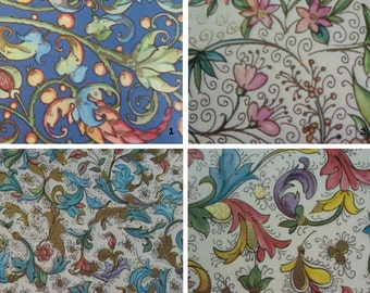 """Italian Paper, Washi, Chyogami Paper take your pick of 6 from 18 designs 4"""" x 6"""" each"""