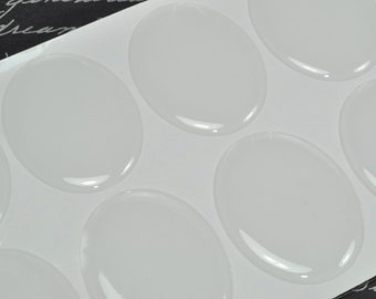 10 Pack 20 x 30mm Oval Clear Epoxy Domes, Resin Stickers (01-05-200)