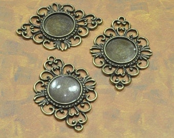 25 pcs Antique Brass Pendant Victorian Trays 18 mm with 25 Glass Cabochons Bezel Pendant (19-16-330), Blank Bezel Cabochon Setting