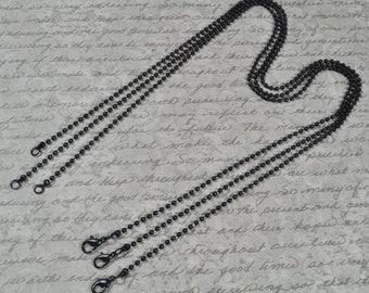 10 High Quality 20 inch Black Ball Chain 2.4 mm with Lobster Clasp. (15-40-308)