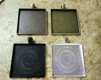 40 pcs 35mm Square Pendant Trays 35mm, Mix and Match Antique Bronze, Black, Antique Copper and Silver Plated, Blank Bezel Cabochon Setting