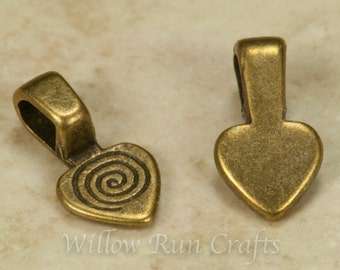 25 Small Antique Bronze Heart Bails (07-06-302)