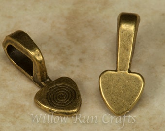 25 Medium Antique Bronze Heart Bails  (07-06-304)