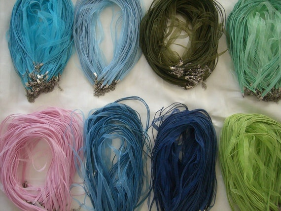 10 Organza Ribbon Cord Necklaces you pick your colors