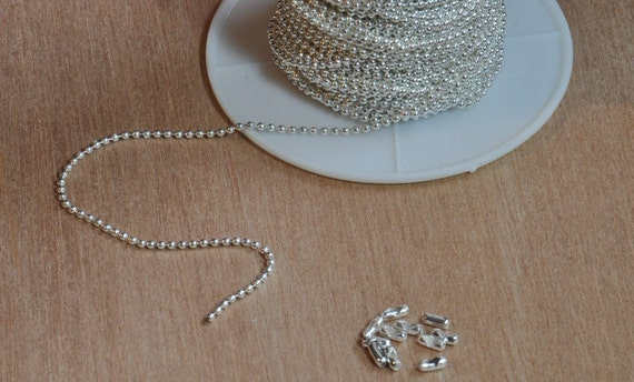New--Shiny Silver Plated Ball Chain Spool  1.5 mm--50 Feet with 50 connectors. Looks great with all your pendants