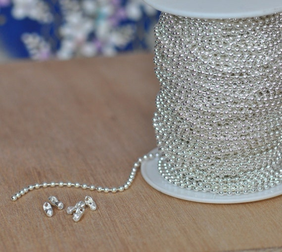Shiny Silver Plated Ball Chain Spool  2.4 mm--Lead Free-50 Ft  with 50 connectors. (15-44-316)