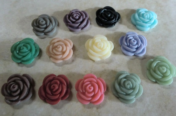 10 pcs Rose Resin Cabochons, 17 mm  rose cabochons, Add to your pendants, rings blanks, earring blanks and more