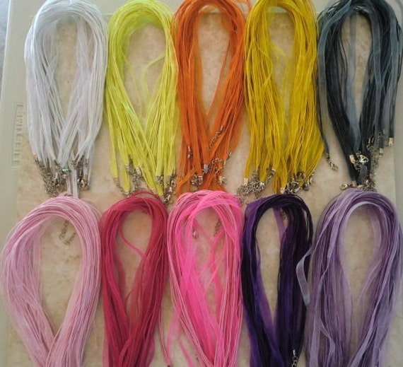 125 Organza Ribbon Cord Necklaces you pick your colors