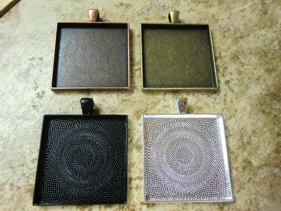 20 pcs 35mm Square Pendant Trays, Mix and Match Antique Bronze, Black, Antique Copper and Silver Plated, Blank Bezel Cabochon Setting