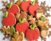 Reserved for Melanie-----Apple Picking Time - Apple and Leaves Decorated Cookies - Fall decorated Cookies - 14 Cookies