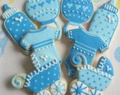 Two Toned Baby Collection - Baby Onesie -  Baby Carriage - Baby Bottle - Baby Bib - Baby Rattle -  12 cookies.
