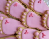 Reserved for Connie---BABY FEET Cookie Favors - Baby Feet Cookies -  Baby Shower Cookie Favors - Baby Feet Decorated Cookie Favors -1 Dozen