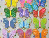 Reserved for Kelly--SPARKLE BUTTERFLIES - Butterfly Cookie Favors - Butterfly Decorated Cookies - 12 Cookies
