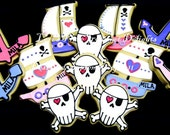 Girl Pirate Party - Pirate Ship - Skull and Bones - Anchor - Decorated Cookies - 12 Cookies