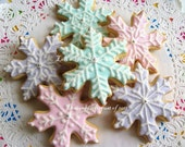 Snowflake Cookies - Christmas Cookies - Decorated Cookies - 12 Snowflakes