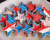 Reserved for Cynthia!----STAR Cookies - Partriotic Cookie Favors - Star Decorated Cookies - 1 Dozen