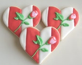 Heart with Rose  Cookie Favors - Heart Wedding Decorated Cookie Favors - Heart Cookies - 1 Dozen