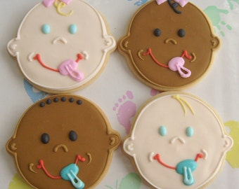 BABY FACE Cookies - Baby Shower cookies - Decorated cookie Favors - 1 Dozen