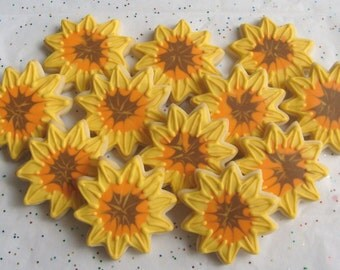Sunflower Cookies - Sunflower Cookie Favors - Sunflower Decorated cookies - 1 Dozen