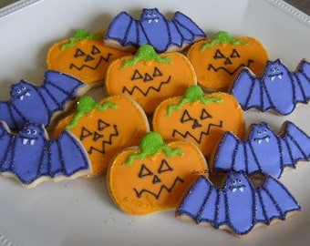 Bats and Jack O Lanterns - Halloween Decorated Cookies - 1 Dozen