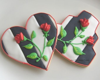 BLACK and WHITE Wedding Cookies - Wedding Heart Cookies - Wedding Cake Cookies - 4.50 each