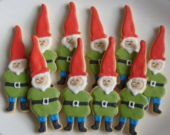 ELF Cookies - GNOME Decorated Cookies - Elf Cookie Favors - Christmas Cookies - 12 Cookies