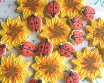 Sunflowers and Lady Bugs - Cookie Favors - Sunflower cookies - 1 Dozen Sets