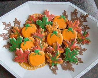 Mini Autumn Mix - Fall Decorated Cookies - Pumpkin and Leaves Decorated Cookies - 1 dozen