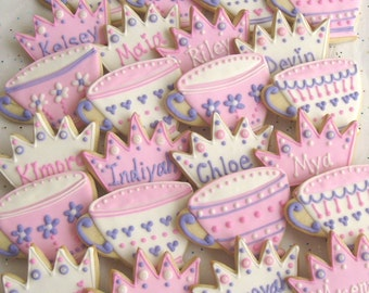 Princess Tea Party Cookies - PERSONALIZED - Tea Cup Cookies - Princess Crown Decorated Cookies - 2 Dozen Cookies