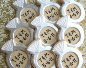 Personalized Diamond Ring Cookies - Diamond Ring Cookie Favors - 1 Dozen