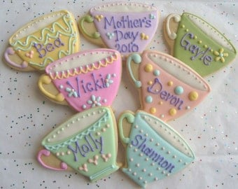 Tea Cup Cookies - Tea Cup Decorated Cookies - Cookie Favors - 12 Cookies