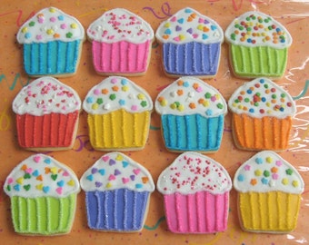 Rainbow Sparkle Cupcakes - Cupcake Decorated Cookies - Cupcake Cookies - Birthday Decorated Cookies 1 Dozen